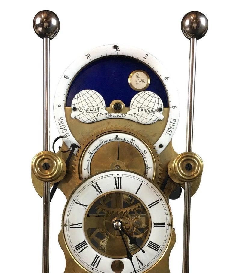 Moon Dial Grasshopper Clock Brass Skeleton Clock, John Harrison Sinclair Harding For Sale 2