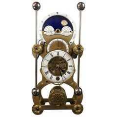 Moon Dial Grasshopper Clock Brass Skeleton Clock, John Harrison Sinclair Harding