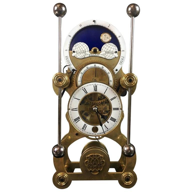 Moon Dial Grasshopper Clock Brass Skeleton Clock, John Harrison Sinclair Harding For Sale