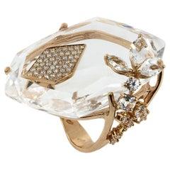18 kt Rose Gold Moon Flowery Rose Ring White Topazes and Diamonds