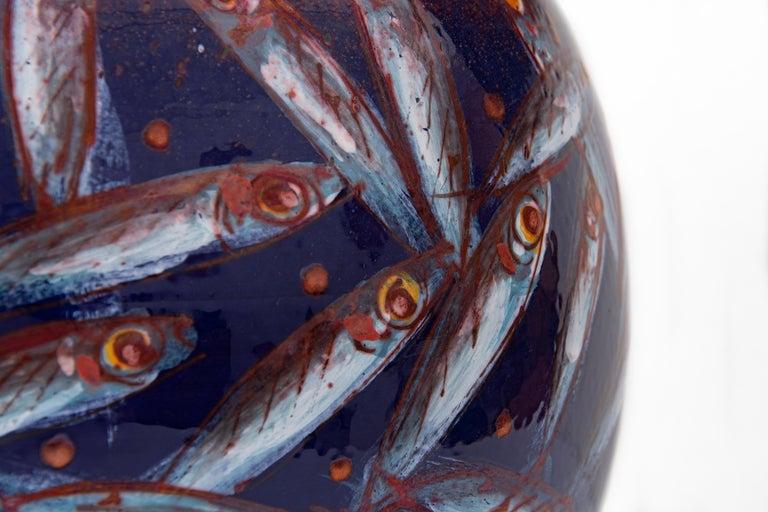 Italian Moon Jar by Bottega Vignoli Hand Painted Glazed Faience Contemporary For Sale