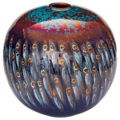 Moon Jar by Bottega Vignoli Hand Painted Glazed Faience Contemporary