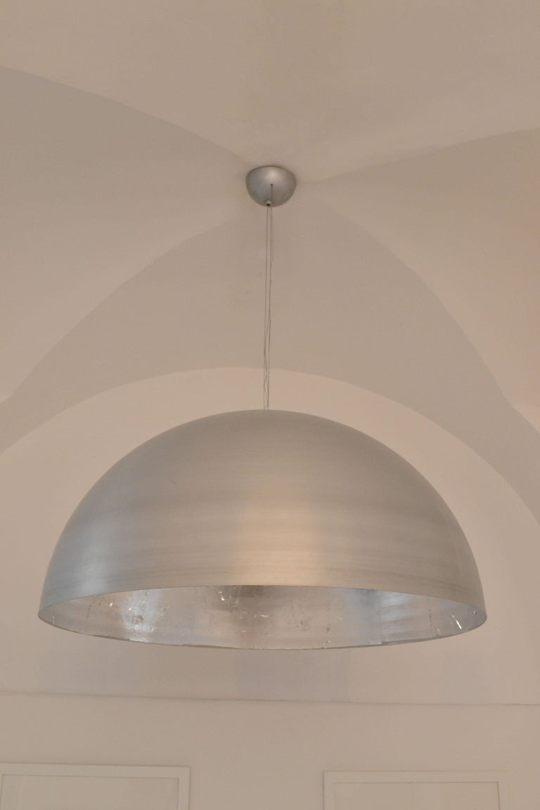 'Moon' Large Round Silver Leaf Ceiling Light / Lantern / Pendant by Element&Co In New Condition For Sale In Madrid, ES