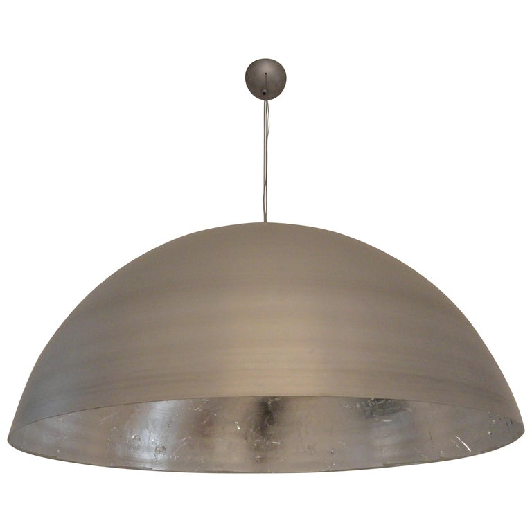'Moon' Large Round Silver Leaf Ceiling Light / Lantern / Pendant by Element&Co For Sale