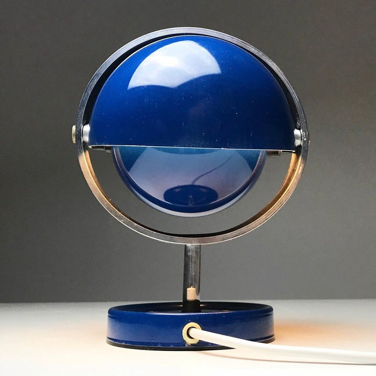 Chrome Moon Light table lamp by Brylle and Jakobsen for Quality System, Denmark 1960s  For Sale