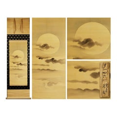 Moon Night Scene Edo Period Scroll Japan 18/19c Artist Tosa Mitsusada