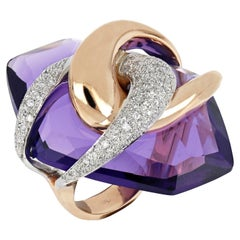 18kt White and Rose Gold Moon Purple Amethyst Big Ring Enriched with Diamonds