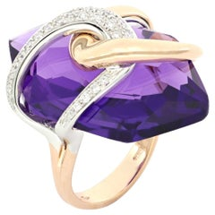 18 Kt Rose Gold Moon Purple Amethyst Ring With Diamonds