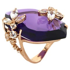 18 Kt Rose Gold Moon Purple Amethyst Ring with Topazes and Diamonds