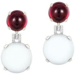 Goshwara Moon Quartz & Garnet Double Cab With Diamond Earrings