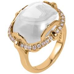 Goshwara Cushion Cabochon Moon Quartz And Diamond Ring