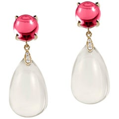 Goshwara Moon Quartz Drop and Garnet Cabochon With Diamond Earrings