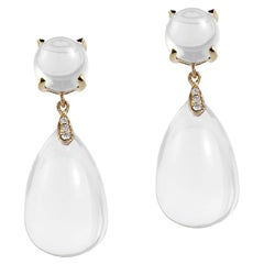 Goshwara Moon Quartz Drop and Moon Quartz with Diamond Earrings