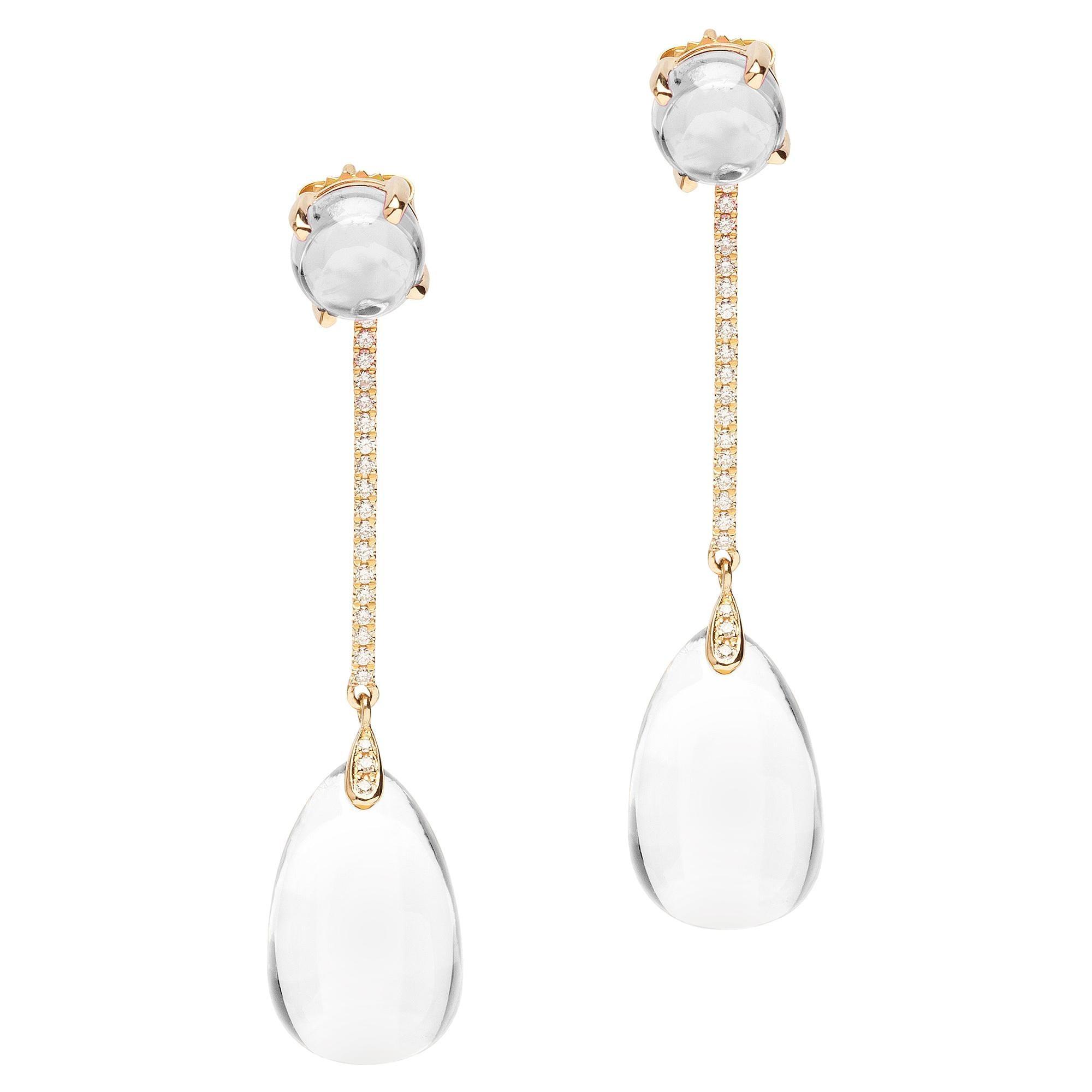 Goshwara Moon Quartz Drop And Diamond Earrings