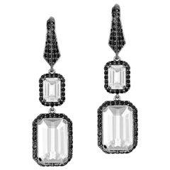 Moon Quartz Earrings with Black Diamonds