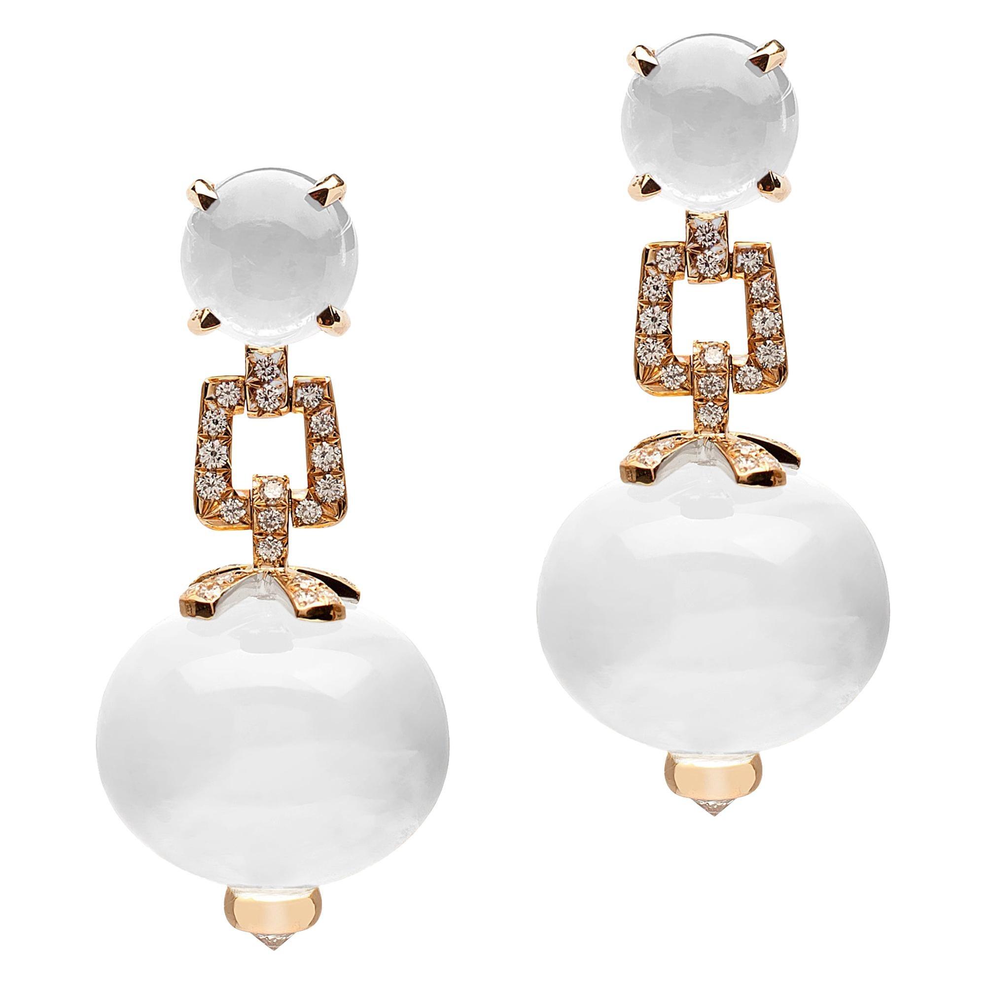 Goshwara Moon Quartz And Diamond Earrings