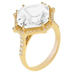 Moon Quartz Emerald Cut Asscher Ring with Diamonds