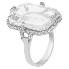 Goshwara Emerald Cut Moon Quartz And Diamond Ring