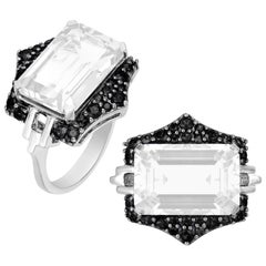 Moon Quartz Emerald Cut Ring with Black Diamonds