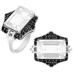 Moon Quartz Emerald Cut Ring with Black Diamonds