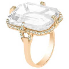 Moon Quartz Emerald Cut Ring with Diamonds