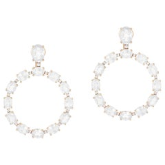Moon Quartz Faceted Oval Hoop Earrings with Diamonds