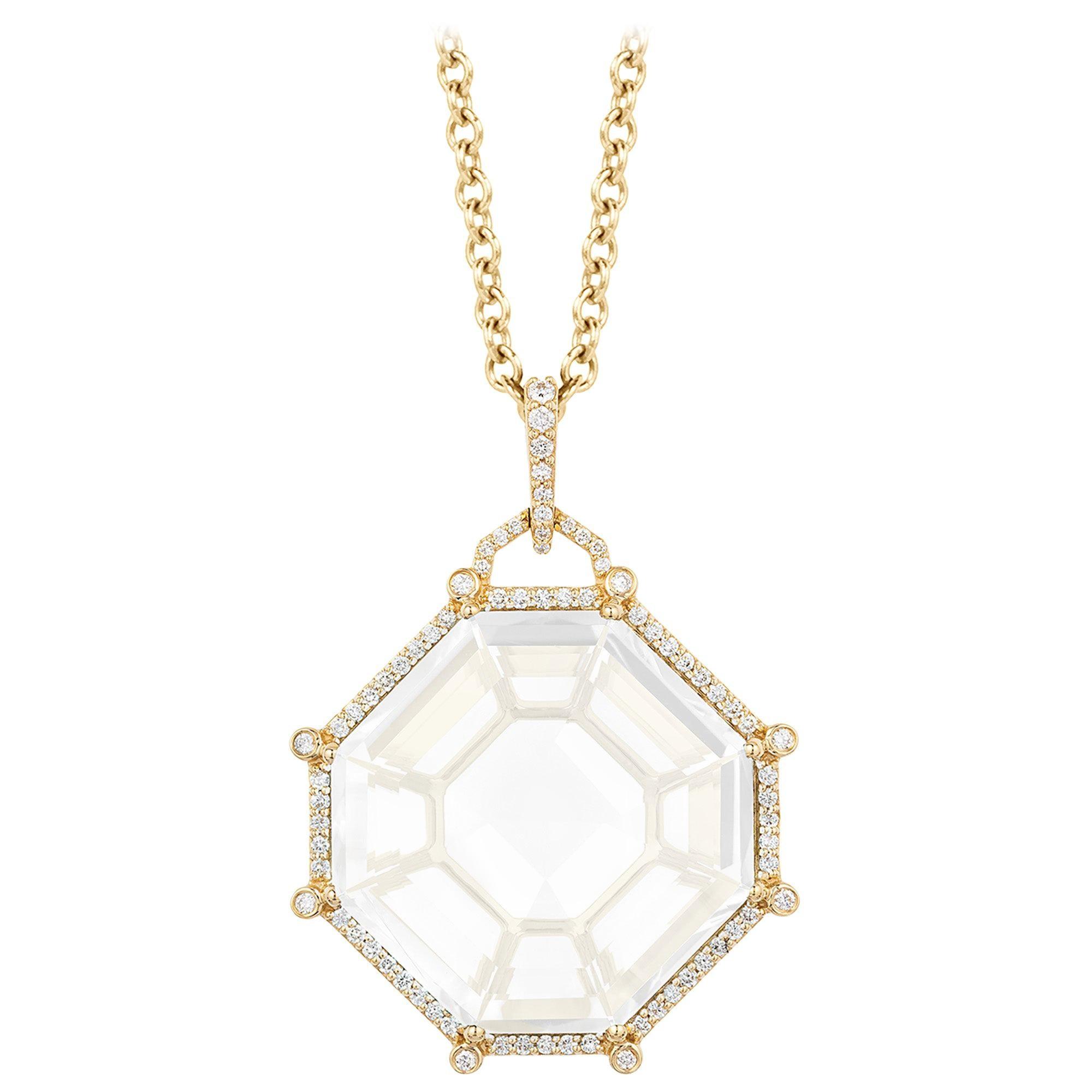Goshwara  Octagon Moon Quartz And Diamond Pendant