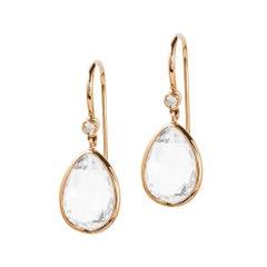 Moon Quartz Pear Shape Briolette Earrings with Diamonds
