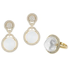 Moon Quartz Ring and Earring with Diamonds
