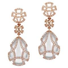 Moon Quartz Teardrop Cage Earrings with Diamonds