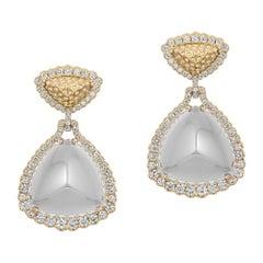 Moon Quartz Trillion Shape Earrings with Diamond