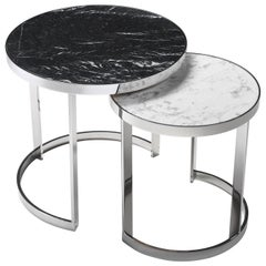 Moon Set of Two Side Tables with Metal Chrome Base and Marble Top by Zanaboni