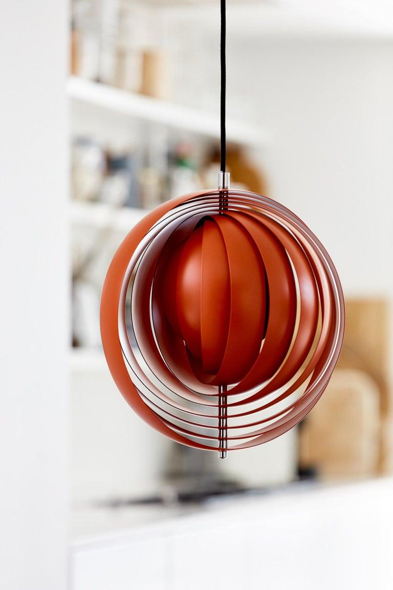 Danish Moon Small Pendant Light in Orange by Verner Panton For Sale