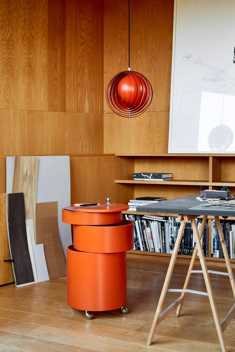 Contemporary Moon Small Pendant Light in Orange by Verner Panton For Sale