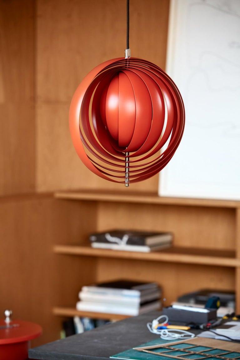 Metal Moon Small Pendant Light in Orange by Verner Panton For Sale
