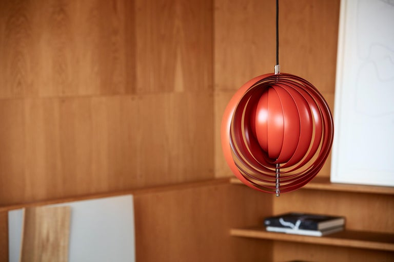 Moon Small Pendant Light in Orange by Verner Panton For Sale 1