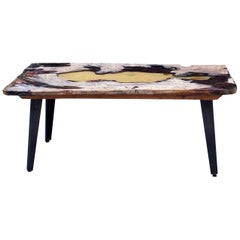 Moon Table in Ancient Elm Wood