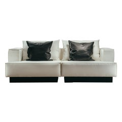 Moonage Daydream 2-Seat Modular Sofa in White Fabric