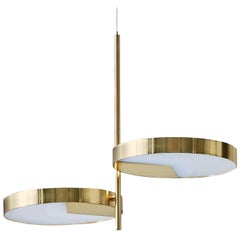 Moonlight 2-Light Brass Ceiling Lamp by Matteo Zorzenoni