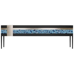 Moonrise Credenza of Blue Gemstone, Brass and Oak, Made in Italy