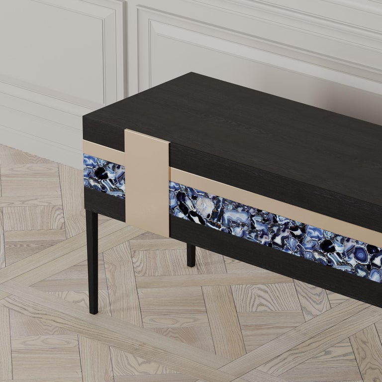 Moonrise Credenza of Gemstone, Brass and Oak, Made in Italy For Sale 3