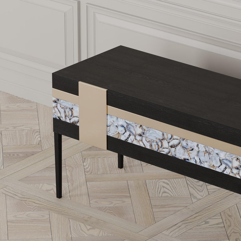 Moonrise Credenza of Gemstone, Brass and Oak, Made in Italy For Sale 4