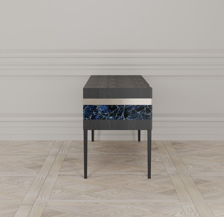 Modern Moonrise Credenza of Gemstone, Brass and Oak, Made in Italy For Sale