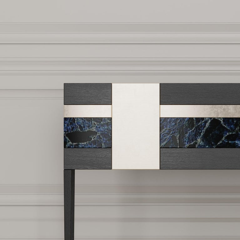 Italian Moonrise Credenza of Gemstone, Brass and Oak, Made in Italy For Sale