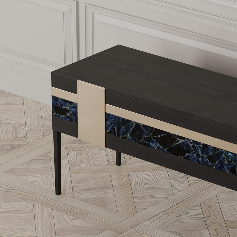 Blackened Moonrise Credenza of Gemstone, Brass and Oak, Made in Italy For Sale