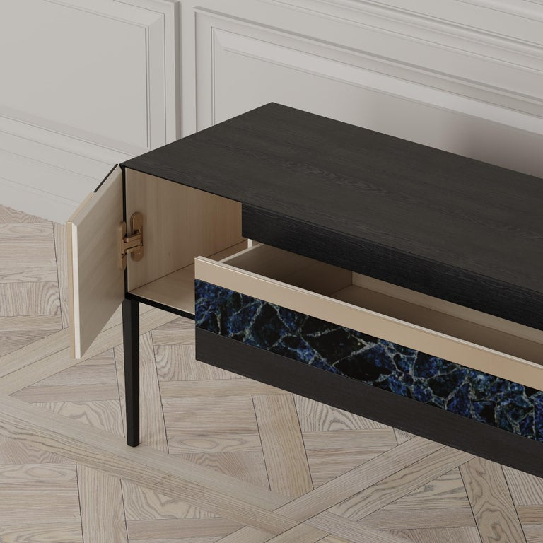 Moonrise Credenza of Gemstone, Brass and Oak, Made in Italy In New Condition For Sale In London, GB