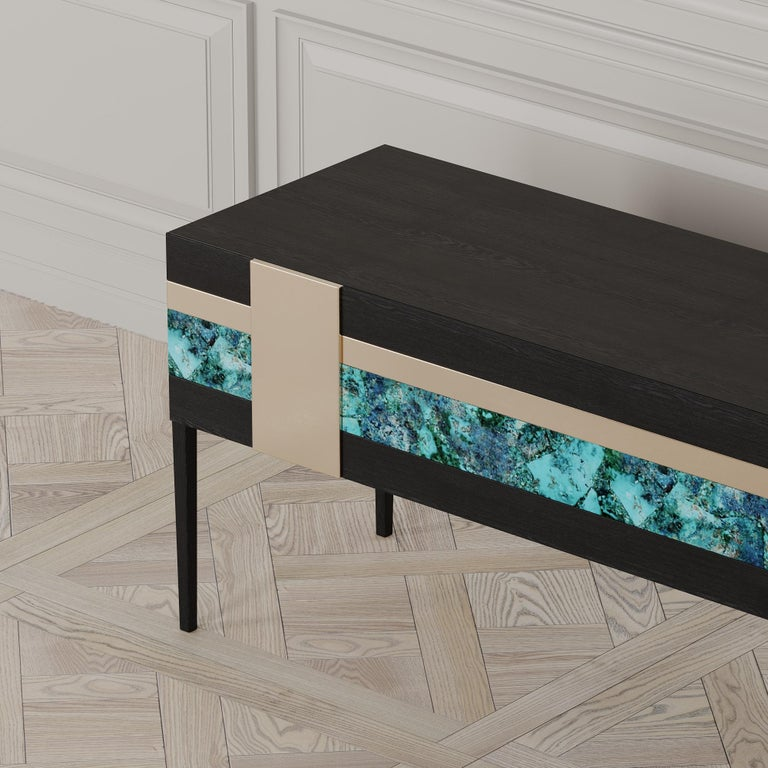 Moonrise Credenza of Gemstone, Brass and Oak, Made in Italy For Sale 2