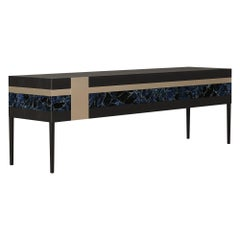 Moonrise Credenza of Gemstone, Brass and Oak, Made in Italy
