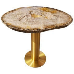 """Moonscape"" White, Gray, Rust Agate Table on Custom Satin Brass Base by Amy Zook"