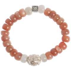 Moonshine Peach and White Moonstone Sterling Silver Bracelet